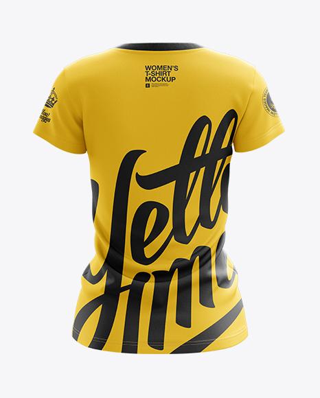 Women's V-Neck T-Shirt Mockup - Back View