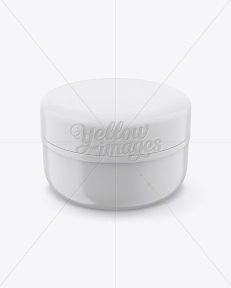 Glossy Cosmetic Jar Mockup (High-Angle Shot)