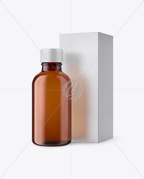 50ml Amber Glass Сosmetic Bottle W/ Kraft Box Mockup