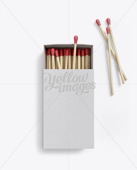 Opened Carton Match Box Mockup - Top View