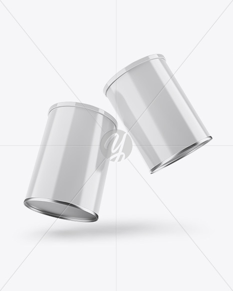 Two Glossy Coffee Tin Cans Mockup