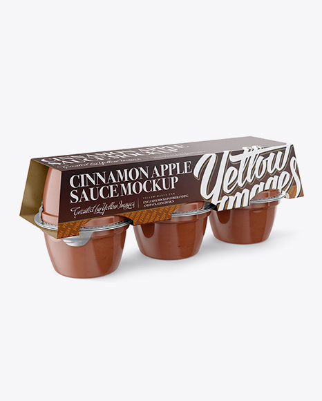 Cinnamon Apple Sauce 6-4 Oz. Cups PSD Mockup Halfside Vew 43.23MB