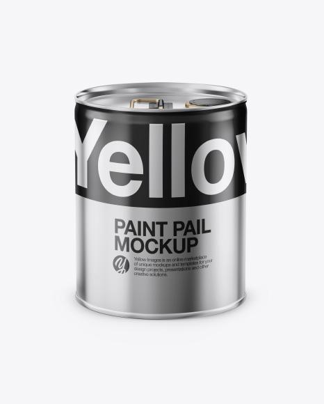 Metallic Paint Pail Mockup - Front View
