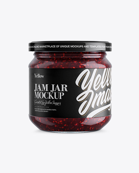 Download Clear Glass Jar W Jam Mockup In Jar Mockups On Yellow Images Object Mockups PSD Mockup Templates