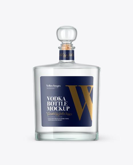 Square Clear Glass Bottle W/ Vodka Mockup