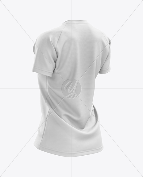 Women's MTB Trail Jersey mockup (Back Half Side View)