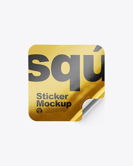 Download Psd Mockup Glue Golden Layer Metallic Mockup Paper Square Sticker Top View Psd