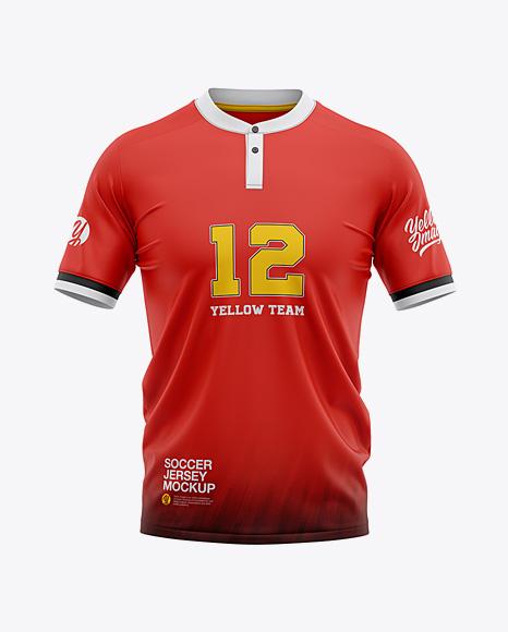 Men's Henley Collar Soccer Jersey Mockup - Front View - Football Jersey Soccer T-shirt