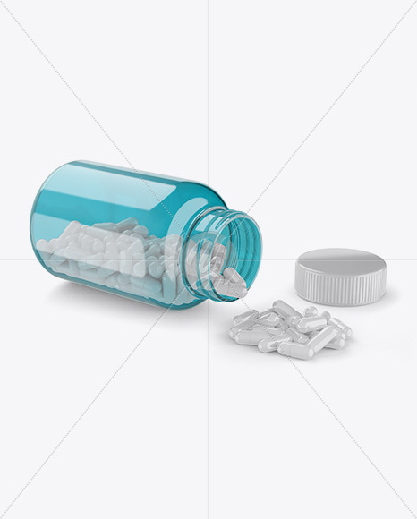 Opened Transparent Bottle W/ Pills Mockup