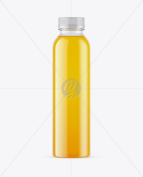 Clear PET Orange Juice Bottle Mockup