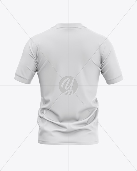 Men's Soccer Henley Collar Jersey Mockup - Back View - Football Jersey Soccer T-shirt