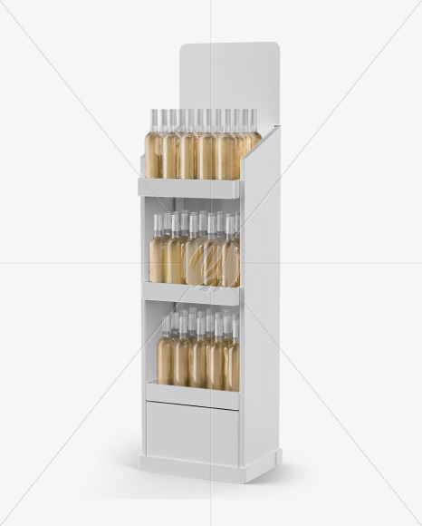 Stand with White Wine Bottles Mockup