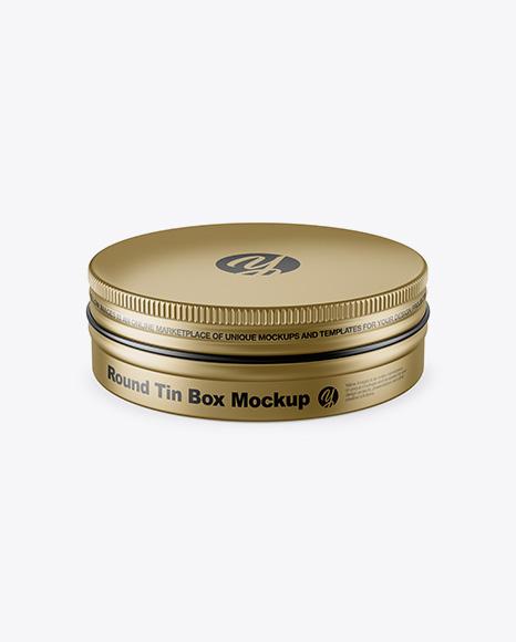 Metallic Round Tin Box Mockup