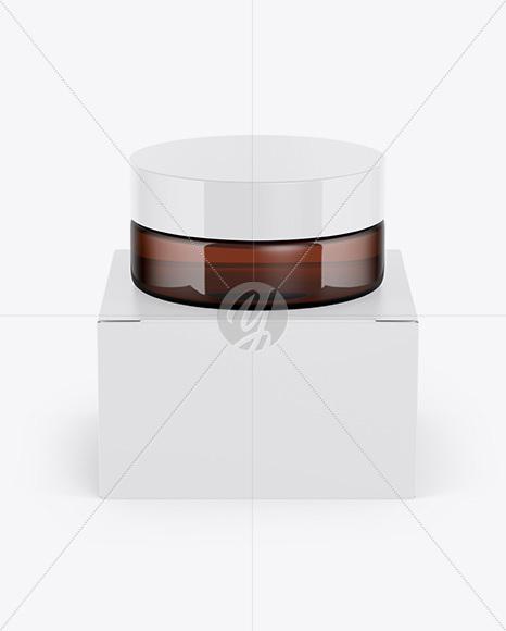 Amber Jar w/ Paper Box Mockup
