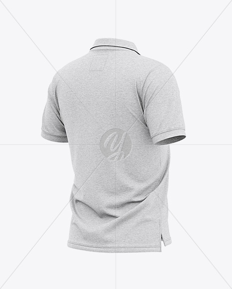 Download Mens Heather Short Sleeve Polo Shirt Front Half Side View Yellowimages
