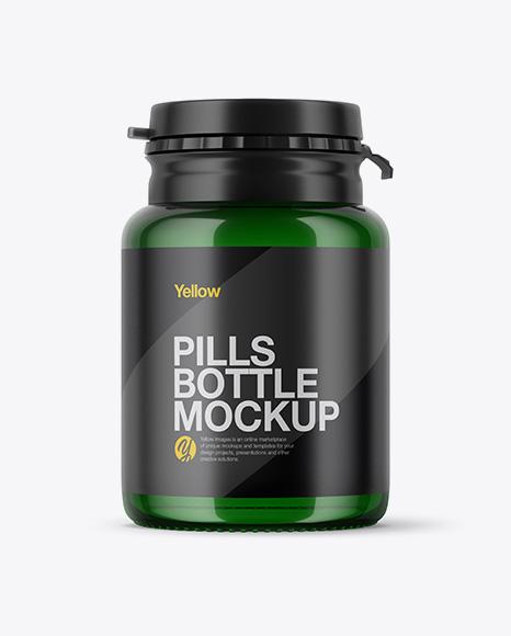Green Pills Bottle Mockup
