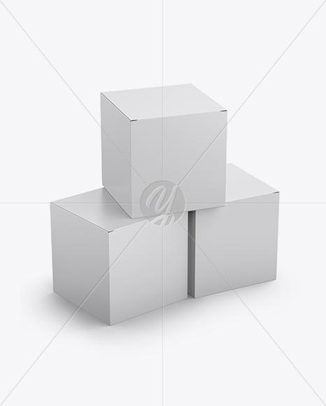 Three Paper Boxes Mockup