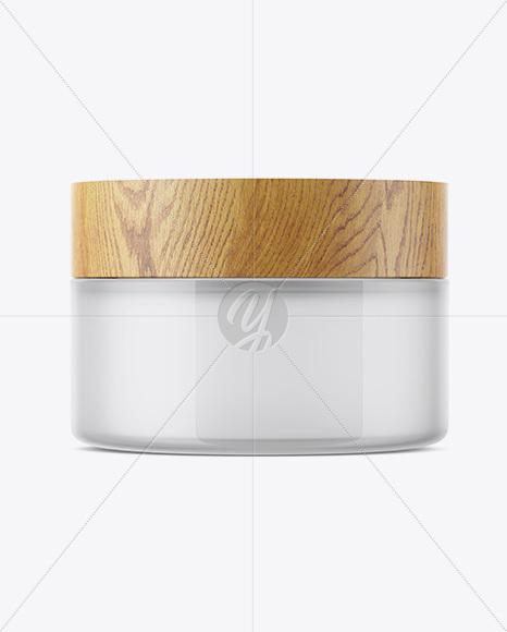 Glossy Semitransparent Glass Jar W/ Wooden Lid Mockup