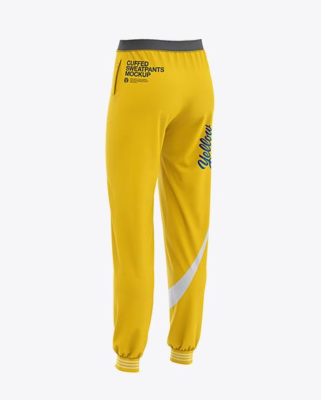 Women's Cuffed Sweatpants Mockup - Back Half Side View