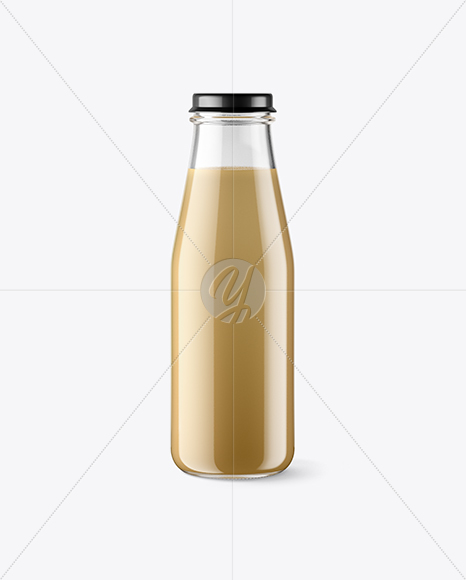 Clear Glass Bottle w/ Frappuccino Mockup