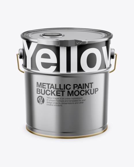 10L Metallic Pail Mockup