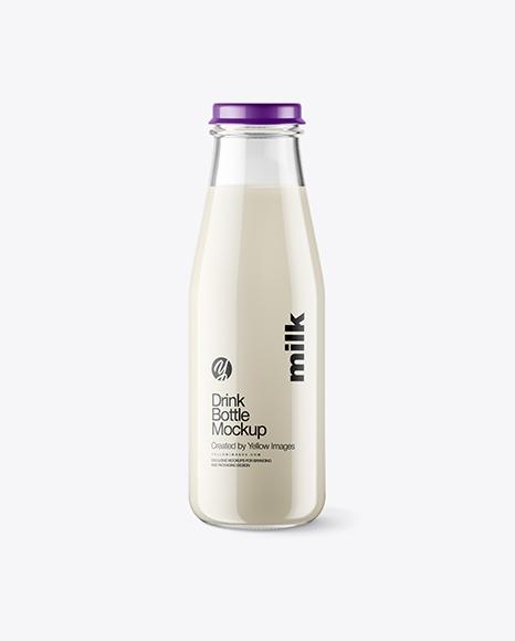 Clear Glass Bottle w/ Milk Mockup