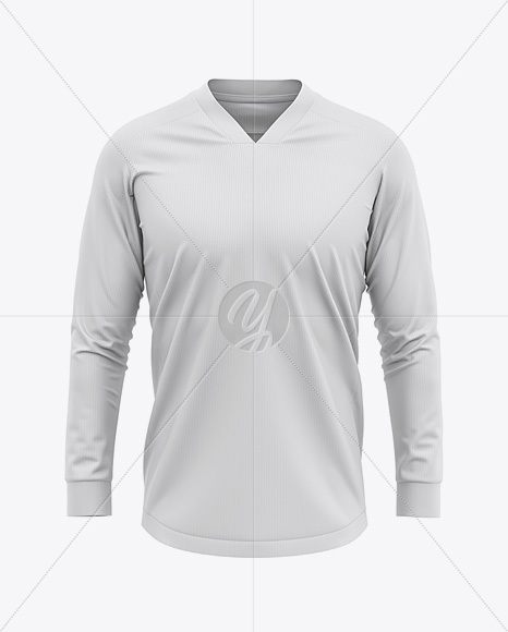 Men's LS V-Neck Soccer Jersey Mockup - Front View - Football Jersey Soccer T-shirt