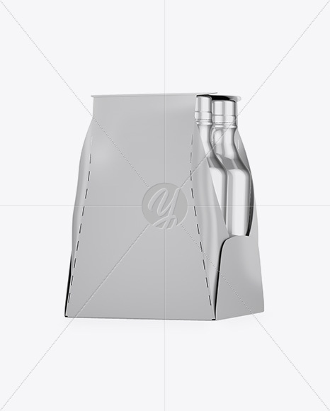 Metallic 4-Pack Paper Carrier Mockup