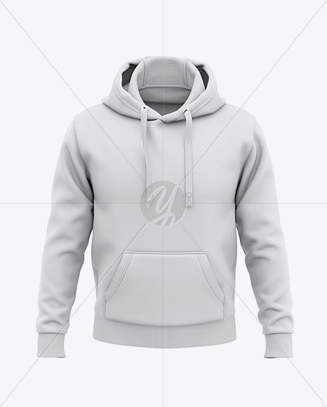 Download Men S Pullover Hoodie Front View Of Hooded Sweatshirt In Apparel Mockups On Yellow Images Object Mockups