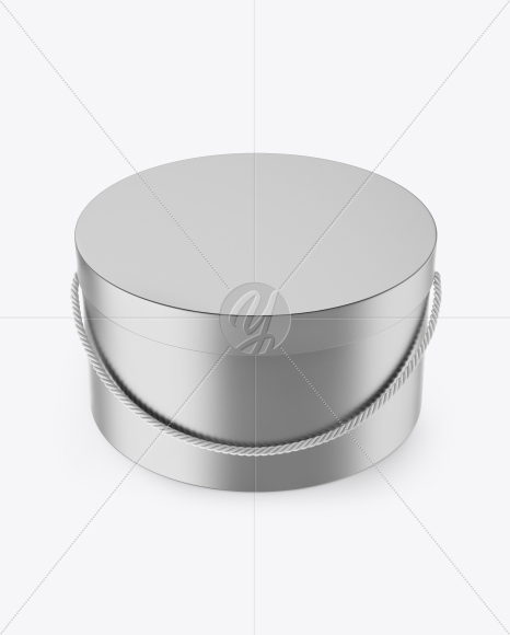 Matte Metallic Round Box Mockup