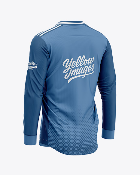 Men's Soccer V-Neck Jersey LS Mockup - Back Half-Side View