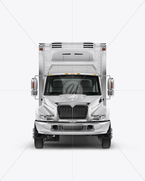 Download Box Truck Mockup - Front View Free Mockups