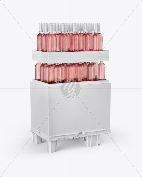 Stand with Rose Wine Bottles Mockup