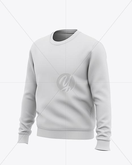 Men's Crew Neck Sweatshirt - Front Half Side View Of Sweater