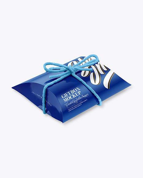 Glossy Gift Box w/ Thread Bow Mockup
