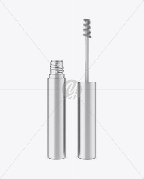 Opened Metallic Mascara Tube Mockup