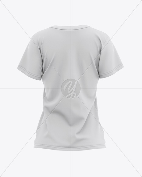 Women's Relaxed Fit Crewneck T-shirt Mockup - Back View