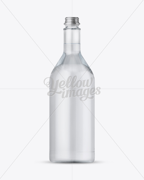 1L Clear Glass Bottle w/ Water Mockup
