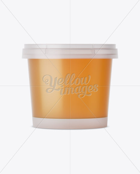 Frosted Plastic Container With Honey Mockup - Eye-Level Shot