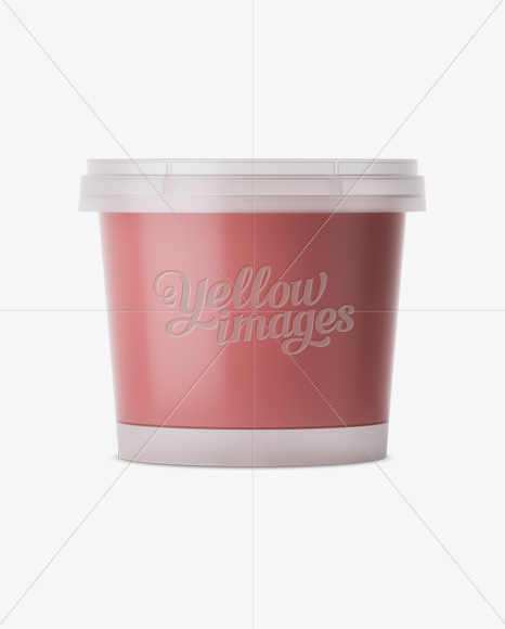 Frosted Plastic Container With Strawberry Yogurt Mockup - Eye-Level Shot