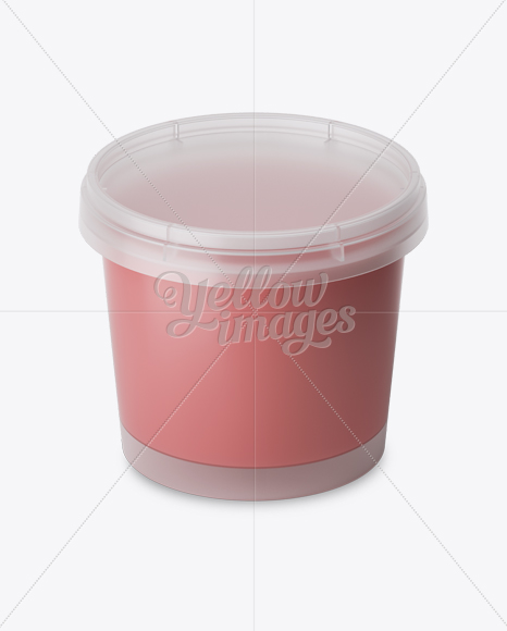 Frosted Plastic Container With Strawberry Yogurt Mockup - High-Angle Shot