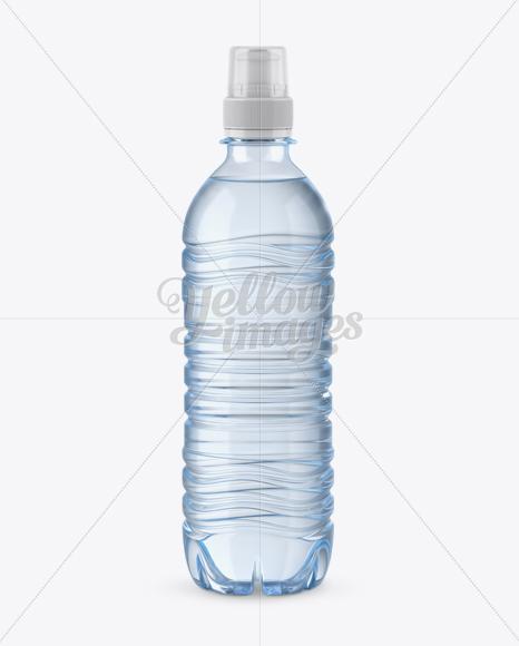 Blue PET Bottle With Sport Cap Mockup