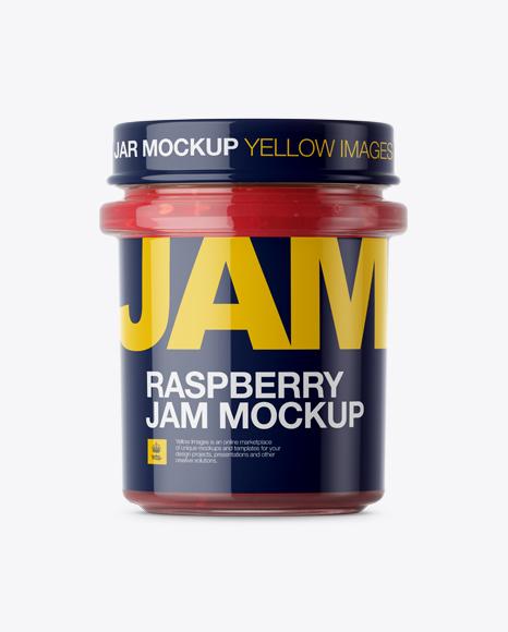 Glass Jar With Raspberry Jam Mockup - Eye-Level Shot