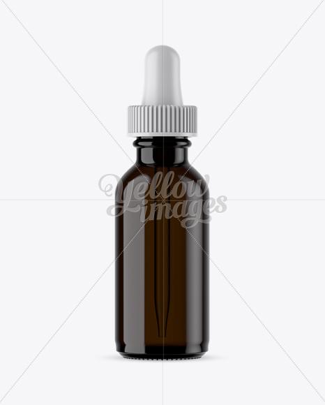 Dark Amber Glass E-Liquid Bottle Mockup