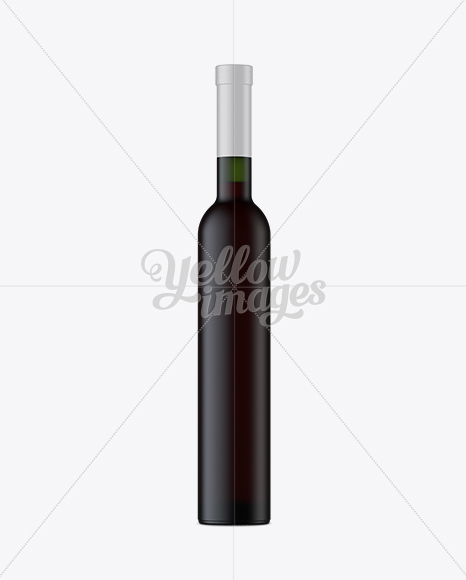 Green Frosted Glass Bottle with Red Wine Mockup - Front View