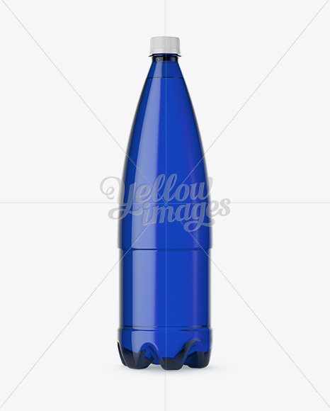 1L Blue PET Water Bottle Mockup - Front View