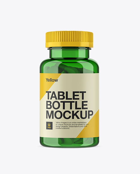 Green Pill Bottle Mockup - Front View