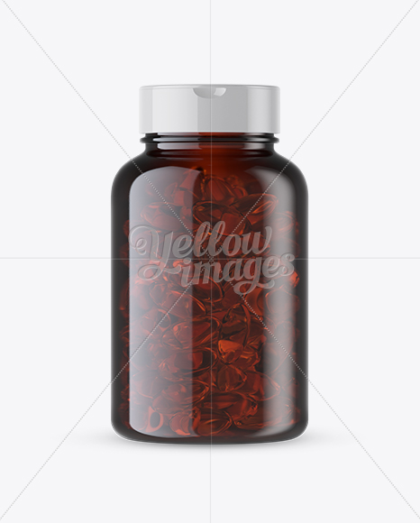 Amber Fish Oil Bottle Mockup - Front View