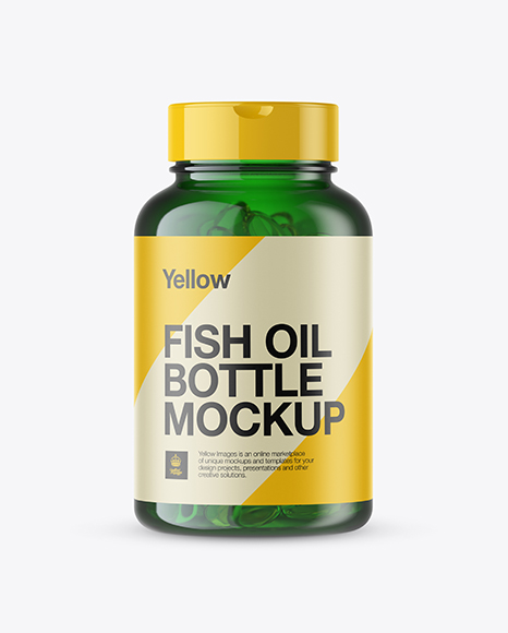 Green Fish Oil Bottle Mockup - Front View