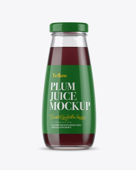 330ml Clear Glass Plum Juice Bottle Mockup